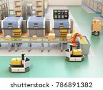 robotic arm picking parcel from ... | Shutterstock . vector #786891382