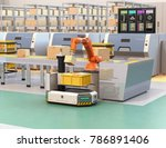 robotic arm picking parcel from ... | Shutterstock . vector #786891406