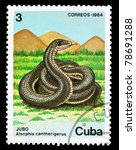 "Small photo of CUBA - CIRCA 1984: A Stamp printed in CUBA shows image of a Snake with the description ""Alsophis cantherigerus"" from the series ""Fauna"", circa 1984"