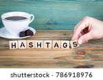 hashtags. wooden letters on the ... | Shutterstock . vector #786918976