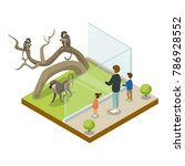 cage with monkeys isometric 3d... | Shutterstock .eps vector #786928552