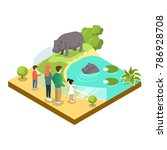 cage with hypopotamuses... | Shutterstock .eps vector #786928708