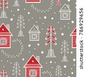 winter pattern with house and...   Shutterstock . vector #786929656