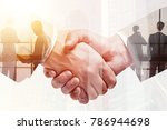 handshake on abstract city... | Shutterstock . vector #786944698