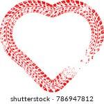 tire tracks in heart form. car... | Shutterstock .eps vector #786947812