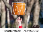 the musician rotates dhol on... | Shutterstock . vector #786950212