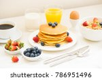 healthy breakfast set with... | Shutterstock . vector #786951496