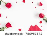valentine's day. frame made of...   Shutterstock . vector #786953572