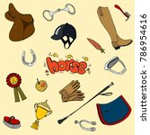 big set equestrian cute gloves... | Shutterstock .eps vector #786954616