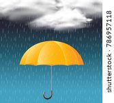 yellow umbrella and rainy season | Shutterstock .eps vector #786957118
