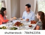 elevated view of jewish family... | Shutterstock . vector #786962356