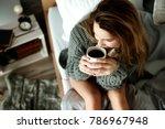 attractive woman drinking... | Shutterstock . vector #786967948