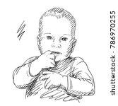 sketch of baby sucking his... | Shutterstock .eps vector #786970255
