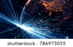 connection lines around earth... | Shutterstock . vector #786975055