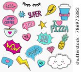 set of trendy patches in retro... | Shutterstock .eps vector #786975382