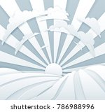 rolling hills with sunrise and... | Shutterstock .eps vector #786988996