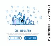 oil industry concept with thin... | Shutterstock .eps vector #786995575