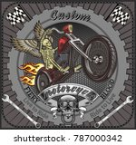 skeleton on motorcycle | Shutterstock .eps vector #787000342