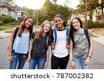 teen girls on the way to school ... | Shutterstock . vector #787002382