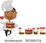 the african american cook holds ... | Shutterstock .eps vector #787009276