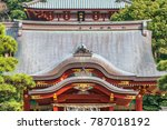 Stock photo tsurugaoka hachimangu shinto shrine maiden hall roof ridge detail most important shinto shrine in 787018192
