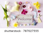 easter flat lay  text welcome | Shutterstock . vector #787027555