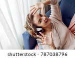 charming happy girl with ... | Shutterstock . vector #787038796