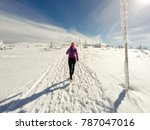Running Woman On Winter Trail ...