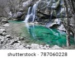 Beautiful Waterfall Virje in long exposure, Slovenia - stock photo