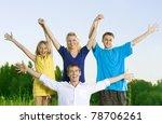 happy friends outdoors. hands... | Shutterstock . vector #78706261