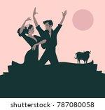 couple of flamenco dancers... | Shutterstock .eps vector #787080058