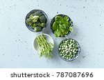 assorted green vegetables and...   Shutterstock . vector #787087696