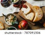 italian tuscan wooden table... | Shutterstock . vector #787091506