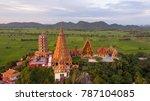 golden buddha statue decorated... | Shutterstock . vector #787104085