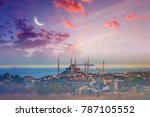 famous landmark blue mosque ... | Shutterstock . vector #787105552