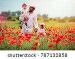 happy family  father with kids... | Shutterstock . vector #787132858