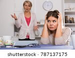 angry mother scolds her adult...   Shutterstock . vector #787137175