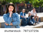 portrait of sad outcasted... | Shutterstock . vector #787137256