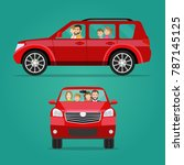 red car two angle set. car with ...   Shutterstock .eps vector #787145125