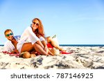 two lovers on beach and hot...   Shutterstock . vector #787146925