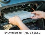 technician hands holding air... | Shutterstock . vector #787151662