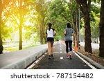 athlete woman 2 runner feet... | Shutterstock . vector #787154482