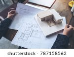 an architect working and... | Shutterstock . vector #787158562