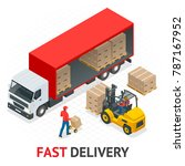 isometric delivery and shipment ... | Shutterstock . vector #787167952