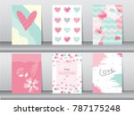 set of valentine's day card on... | Shutterstock .eps vector #787175248