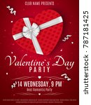 valentines day party flyer. red ... | Shutterstock .eps vector #787181425