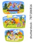 kids summer camping vector... | Shutterstock .eps vector #787186816