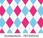 pink and light blue argyle | Shutterstock .eps vector #787200142