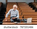smiling grey hair professor... | Shutterstock . vector #787201486