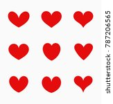 red hearts icons. vector... | Shutterstock .eps vector #787206565